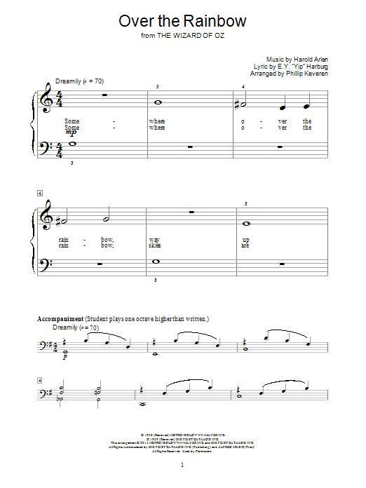 Nouvelle partition piano sur Modern Score !    Harold Arlen: Over The Rainbow - Partition Piano Facile    #sheetmusic #piano #HaroldArlen #Arlen