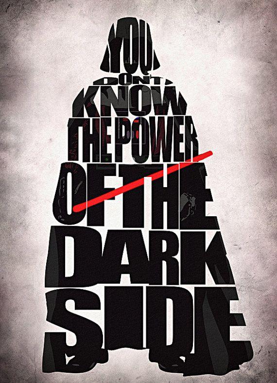 Star Wars Darth Vader Print – Darth Vader from Star Wars Movie Series – Minimalist Illustration Typography Art Print & Poster