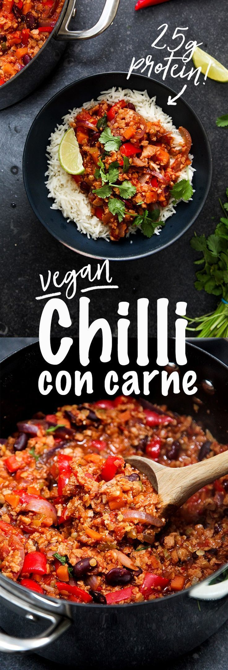 An easy, delicious, and meat-free Chilli Con Carne recipe that's sure to be a hit at your Super Bowl party.