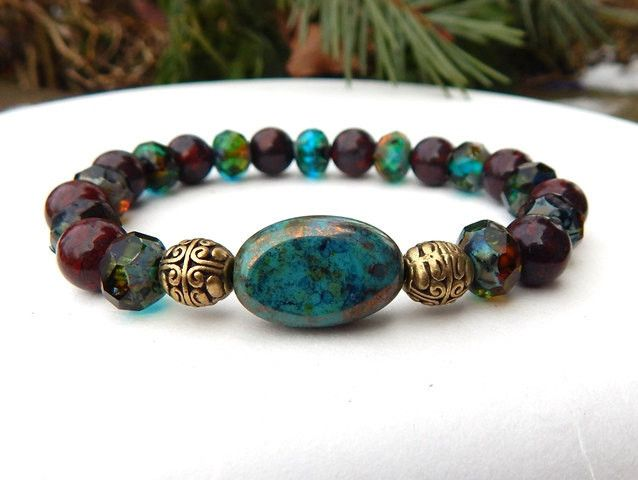 This popular artisan bracelet is made with 8mm Brecciated Jasper and Picasso Czech beads. It has a beautiful Czech focal bead. Simply beautiful protection bracelet. Brecciated Jasper Properties: This