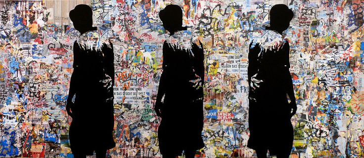 Tehos - Walls must fall - Média mixtes,  230x100x3 cm ©2015 par TEHOS -                                                                                                Pop Art, Street Art (Art urbain), Autre, Paysage urbain, Personnalités politiques, Politique, tehos, art collage on canvas, street art painting, walls must fall, pop art painting, berlin wall, palestinian wall, freedom of people, freedom of expression