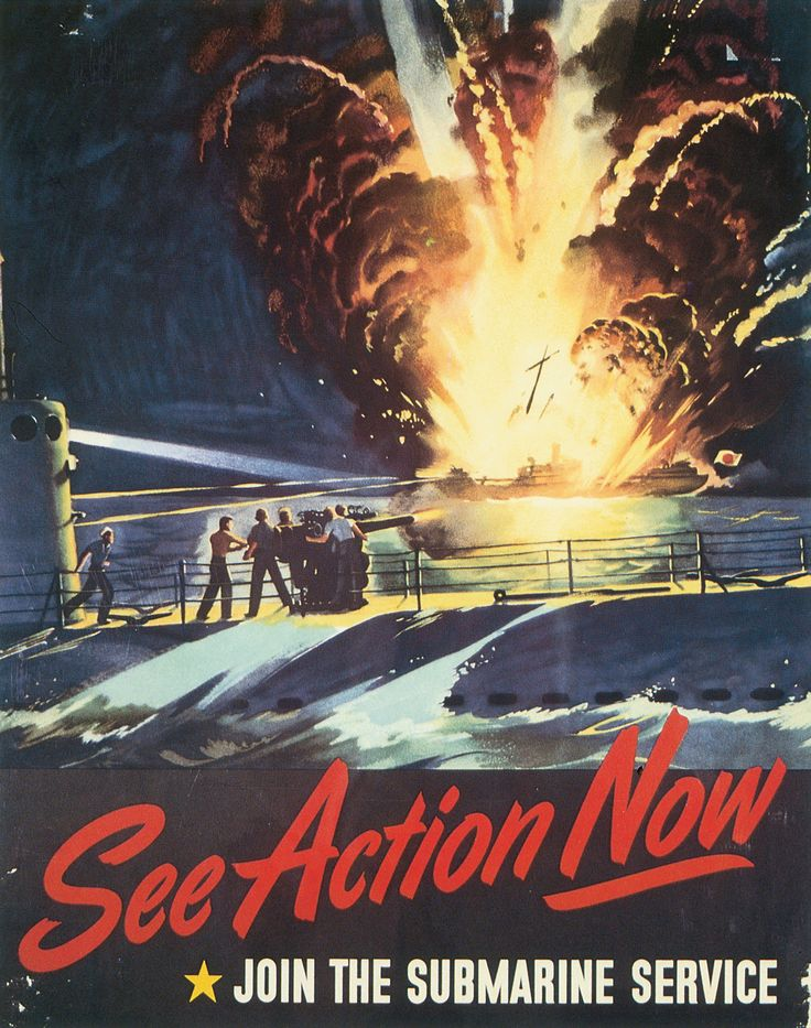 WWII US Navy recruitment poster for submarine service, 1944