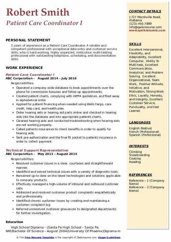 Patient Care Coordinator Job Description Resume Fresh Patient Care Coordinator Resume Samples In 2020 Patient Care Coordinator Jobs For Teachers Resume Skills