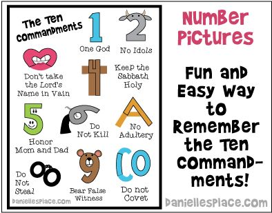 Number Pictures - Learn all the Ten Commandments in Less than 10 Minutes! - Free Printable from www.daniellesplace.com