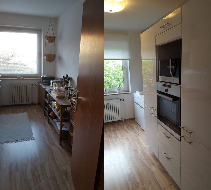 Vorher (links) nachher (rechts) Bilder meiner neuen Küche findet ihr auf meinem Blog.