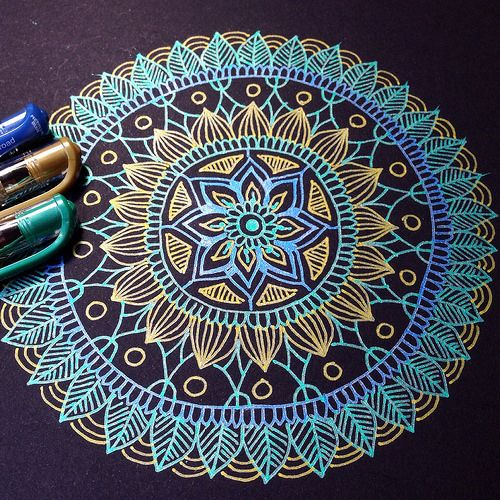 Mandala by MagaMerlina, via Flickr ~ The dark background really sets off the inks #art_journal