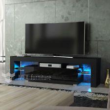 Modern TV Unit 160cm Cabinet Stand Black Matt And High Gloss FREE LED RGB