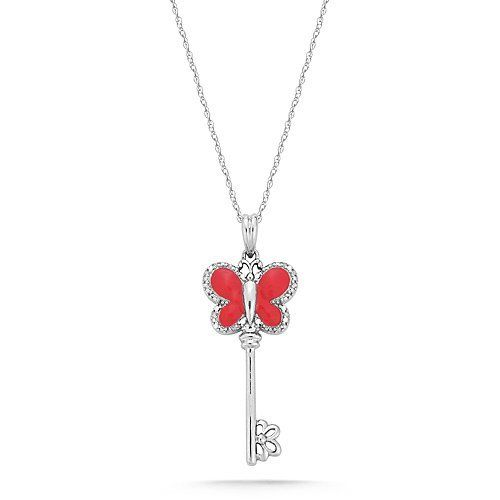 """10k White Gold Red Enamel Butterfly Key with Diamonds Pendant Necklace (0.02 cttw, I-J Color, I2-I3 Clarity), 18"""" Amazon Curated Collection. $245.00. The total diamond carat weight listed is approximate. Variances may be up to .05 carats.. Made in India. All our diamond suppliers certify that to their best knowledge their diamonds are not conflict diamonds.. Save 60% Off!"""