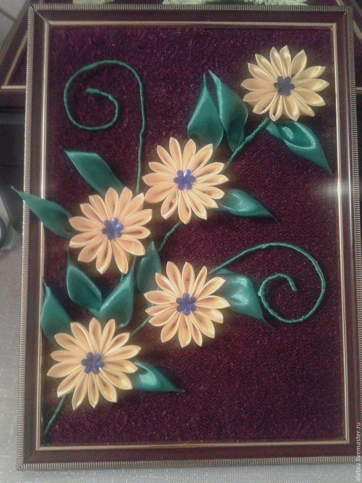 Купить Картины из цветов канзаши - комбинированный, ручная работа, атласные ленты, проволока