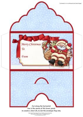 SANTA DELIVERY Christmas Money Wallet Gift Voucher Envelope on Craftsuprint designed by Janet Briggs - Christmas money wallet or gift voucher holder, featuring Santa delivering the gifts.Sentiment tag on the front reads Merry Christmas and includes space for a To and From message. - Now available for download!