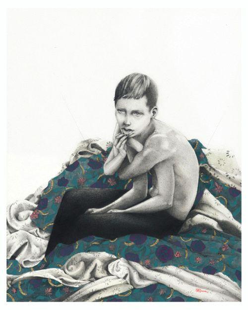 Paulette Jo, The embrace. Graphite, gouache, acrylic paint and golden leaf.