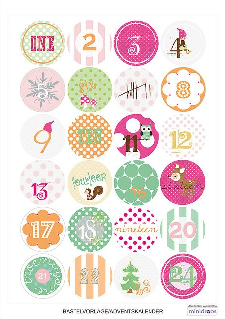 Free printable advent calendar number tags