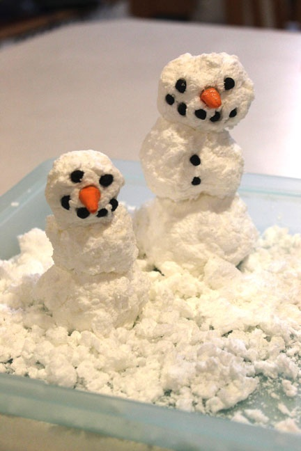 """Microwave ivory soap to make indoor """"snow"""" and snowmen"""