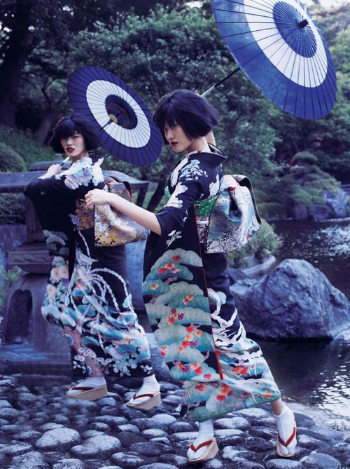 chiharu okunugi and unknown model in the traditional japanese kimono (着物) for vogue nippon, november 2012