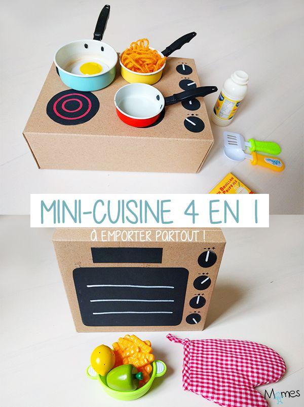 Si vous souhaitez fabriquer une petite cuisine jouet pour vos enfants, mais que vous n'êtes pas le roi ou la reine des bricoleurs, on a pile ce qu'il vous faut et peut-être même un peu mieux ! A partir d'une simple boîte à chaussures et de papier noir, fabriquez une mini-cuisine 4 en 1 à emporter partout ! Ingénieux jusqu'au bout, le rangement est compris dedans !