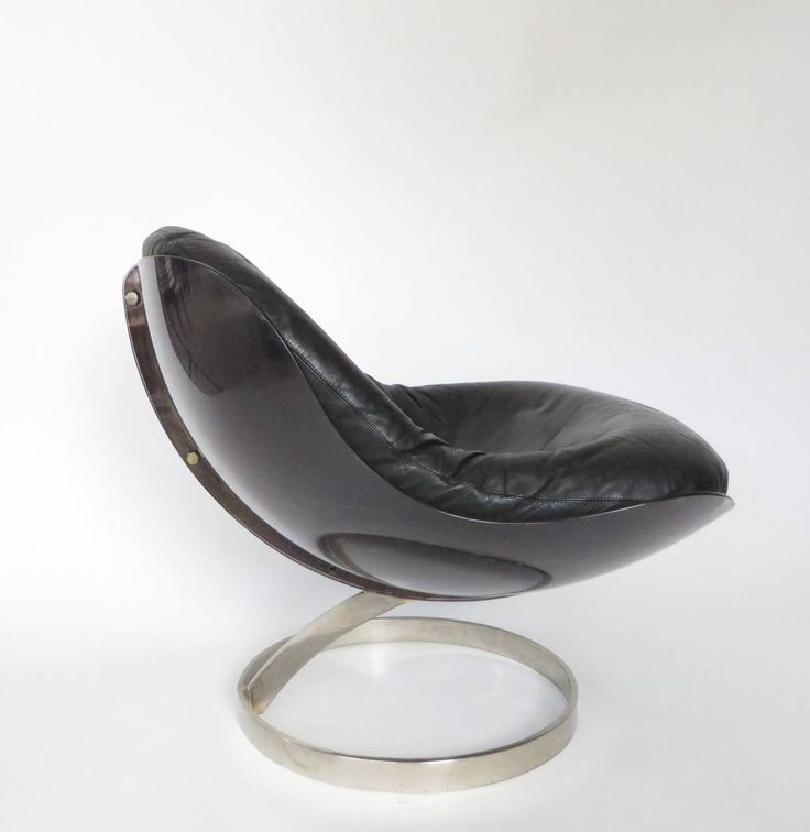 Plexiglass and Black Leather Chair by Boris Tabacoff image 3