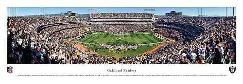 Oakland Raiders Unframed Panoramic by Blakeway. $29.95. pH Neutral Heavy Art Stock. Officially Licensed NFL Panorama. Great for office, home and dorm rooms!. This panoramic photograph, taken by James Blakeway, underscores the on-field action of the Oakland Raiders playing to their home crowd at Oakland-Alameda County Coliseum.  The Raiders began play in 1960, as a charter member of the American Football League