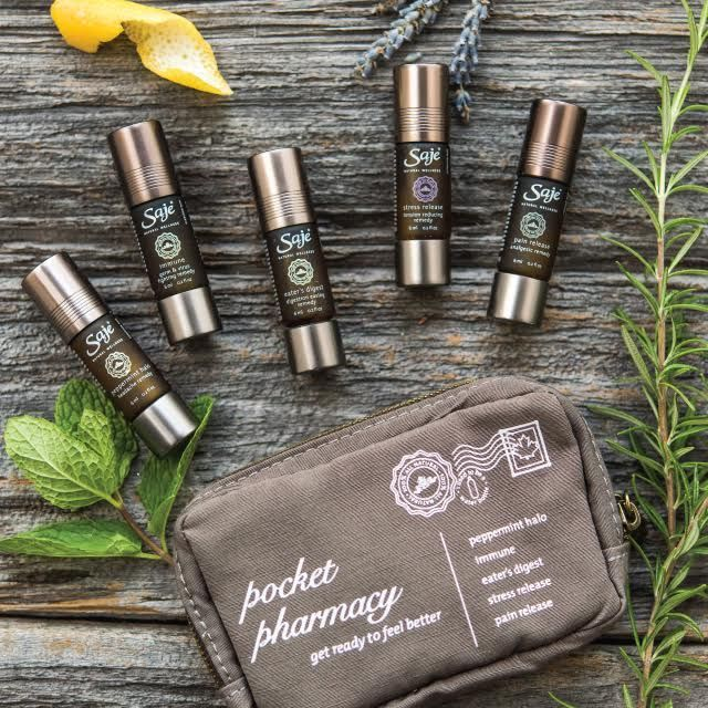 Saje Natural Wellness | Pocket Pharmacy | A must-have natural farmacy for every day, including five of our best selling therapeutic remedy roll-ons - Peppermint Halo, Stress Release, Pain Release, Immune, and Eater's Digest.