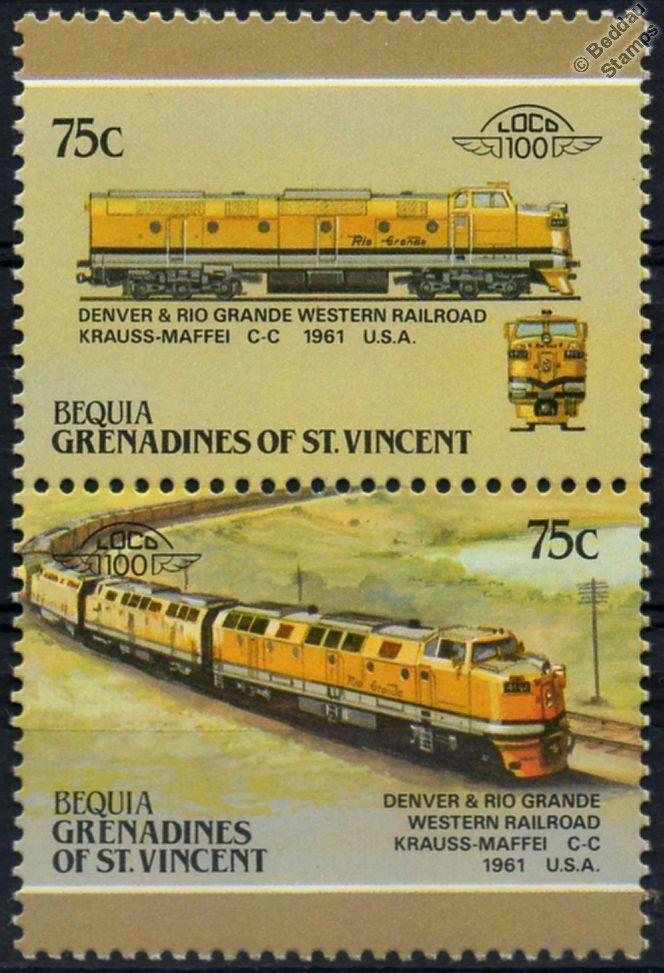 1961 DRGW Krauss-Maffei C-C Diesel Denver & Rio Grande Train Stamps / LOCO 100   eBay