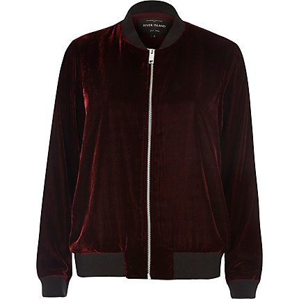 Dark red Velvet bomber jacket £40.00