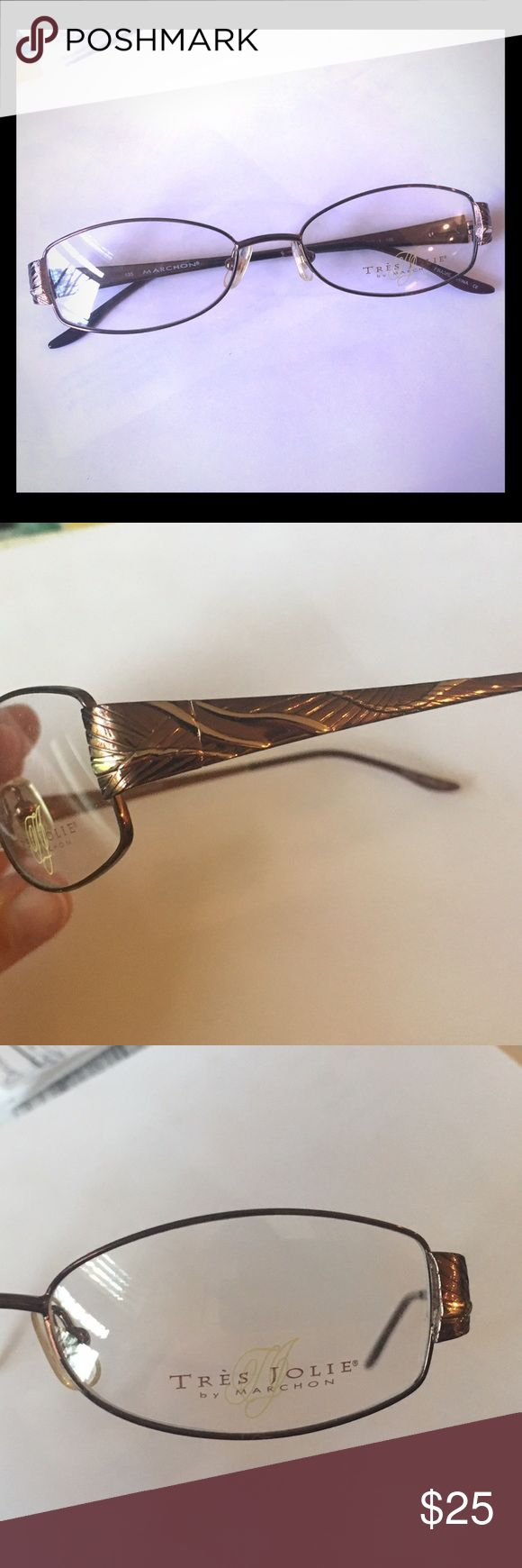New Tres Jolie Metal in Brown! First time ever posted! Complimentary FRAME in shades of Brown. Spring hinges. Liquidating all of our frames, far below our Wholesale Cost. Pricing is firm or buy three and get another ten percent at checkout.😄 Tres Jolie Accessories Glasses