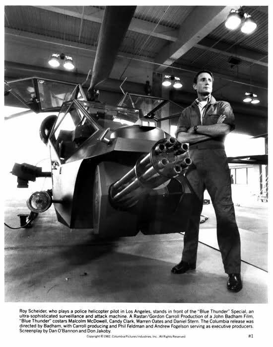 Roy Scheider with Blue Thunder (modified Aérospatiale Gazelle), 1982 – Legendary.