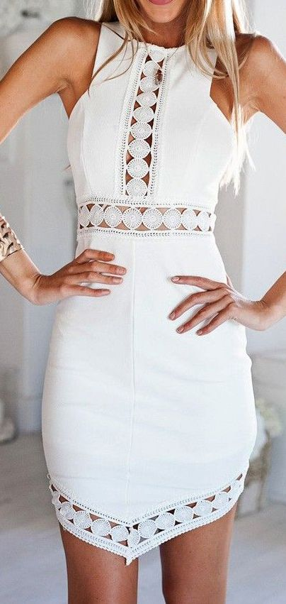White Sleeveless Asymmetrical Dress