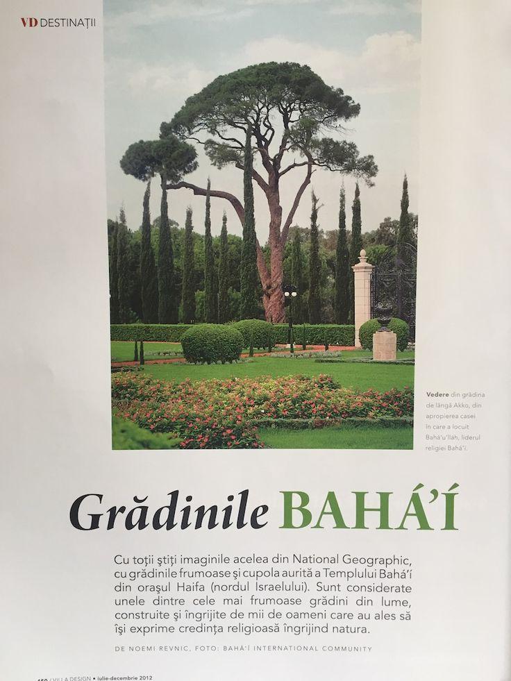 An article about Bahai Gardens in Acco & Haifa. Villa Design magazine, July - December 2012 issue.