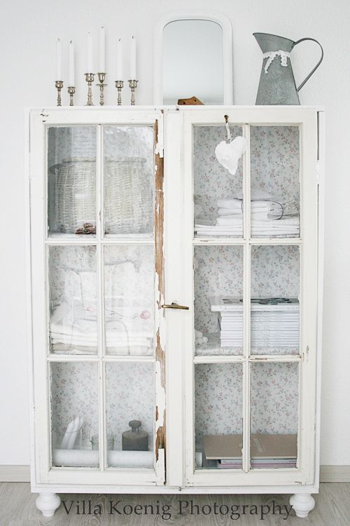 Shabby Chic Interiors - white painted cabinet, with a paper lined ...