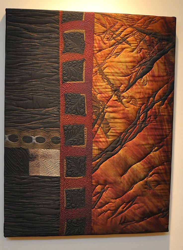 """Night"" Quilted wall Hanging on Cradle Frame 29"" x 38"" x 1.75"" Original  Work"