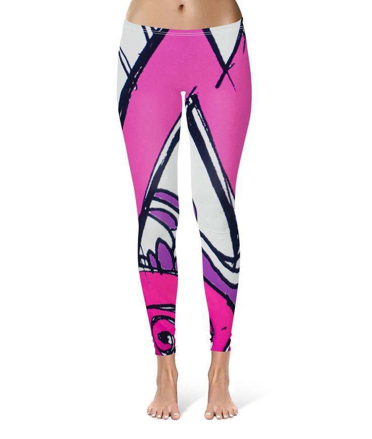 Purple Graffiti Urban Leggings For Women Sizes Xs-3Xl Lycra Gym Yoga Full Length