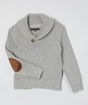 GIL & JAS Gray Shawl Collar Elbow Patch Sweater - Toddler & Boys