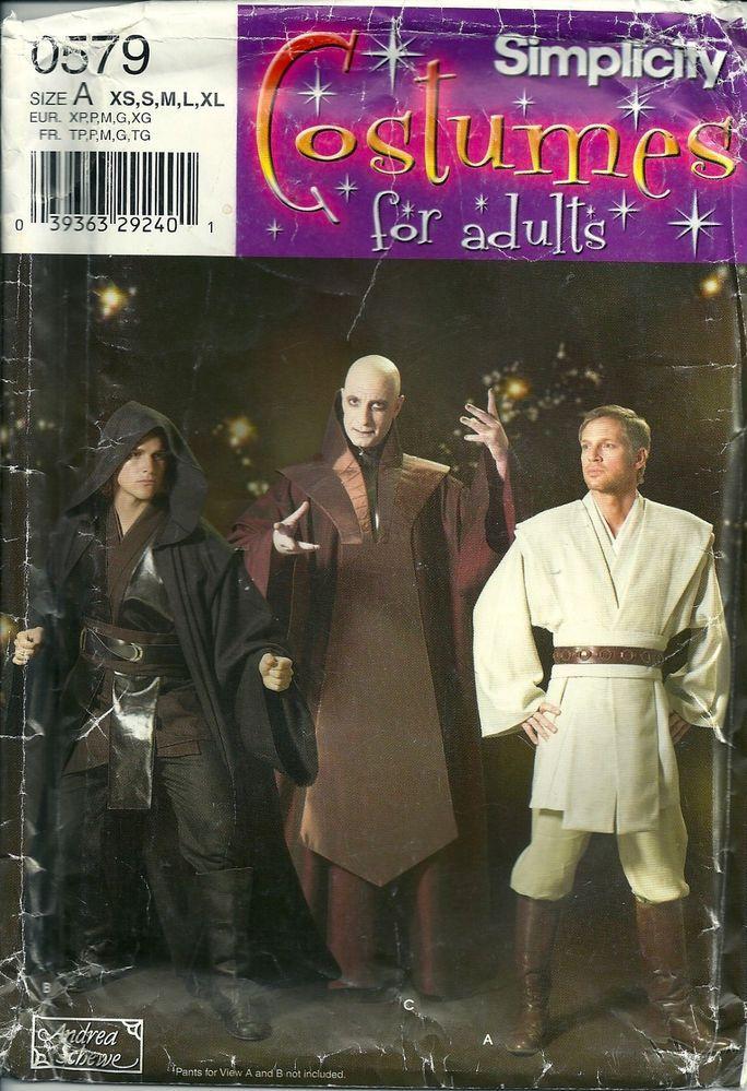 Simplicity Pattern 0579 4450 Star Wars Jedi Mens Size Xs S