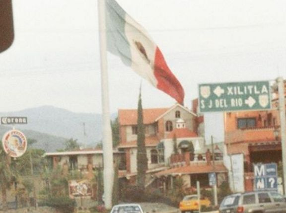 The flag of Mexico in Jalpan