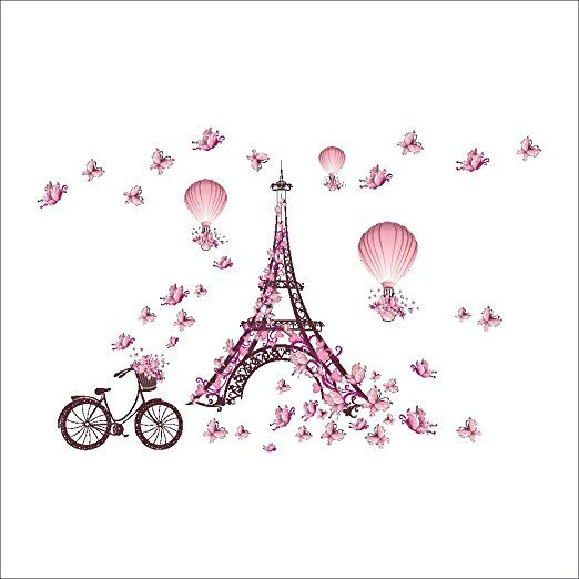 Amazon.com: Wallpark Romantic Pink Butterfly Paris Eiffel Tower Flower Hot Air Balloon Removable Wall Sticker Decal, Children Kids Baby Home Room Nursery DIY Decorative Adhesive Art Wall Mural: Baby