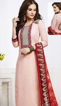 Fashionable Baby Pink Chanderi Cotton Pakistani Suit