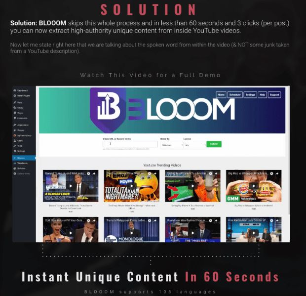 Blooom Content Automation By Mark Bishop is best plugin software that automatically help you to generates google-friendly unique authority content from youtube videos and used to build authority blog and be able complete video monetization, which when combined turning each authority blog into a scalable passive income   #blooom #wordpress #plugin #makemoney #adsense #content #contentmarketing #wordpress plugin