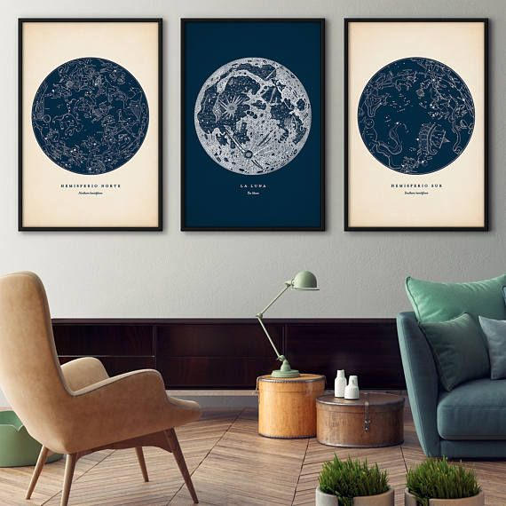 Astronomy print set of 3, Star map print, Star chart print, Constellation art, Constellations chart, Moon print, Nautical decor, Wall art