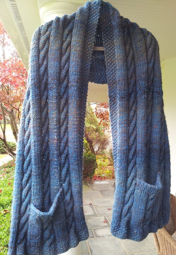 Free Knitting Pattern Cabled Pocket Shawl in super bulky yarn - JoAnne Zoller Wagner's shawl is the perfect combination of coziness and practicality. Great quick gift! Pictured project by wrenknits