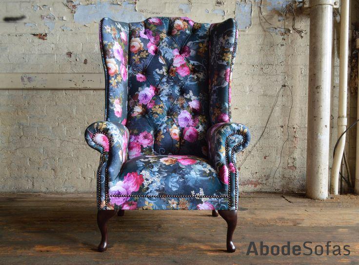 Botanical Floral Velvet Chesterfield Chair, exclusive printed velvet | Abode Sofas