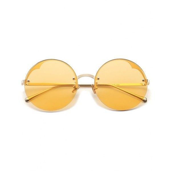 Round Semi-rimless Sunglasses Yellow ($6.52) ❤ liked on Polyvore featuring accessories, eyewear, sunglasses, yellow round sunglasses, rounded glasses, yellow sunglasses, semi rimless glasses and round sunnies