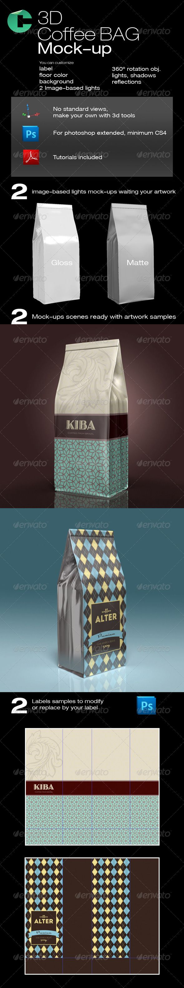3D Object - Coffee Bag #GraphicRiver This product is compatible with Adobe Photoshop CS4 Extended and CS5 Extended PDF tutorial included for this model FEATURES • 3D model with easy customization • Rotate 360 degrees • Move around • You can set any background • You can scale up to 4000x4000 pixels • Label placeholder • Remove floor • Object Shadows • Floor reflections • Lights control In this set: 2 PDF tutorials, 4 3d models, 2 reference labels in photoshop PDF Tutorial – issuu…