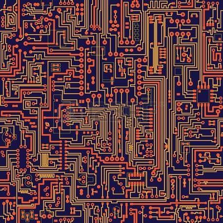 carte de circuit imprimé: Seamless texture vecteur de couleur - carte électronique
