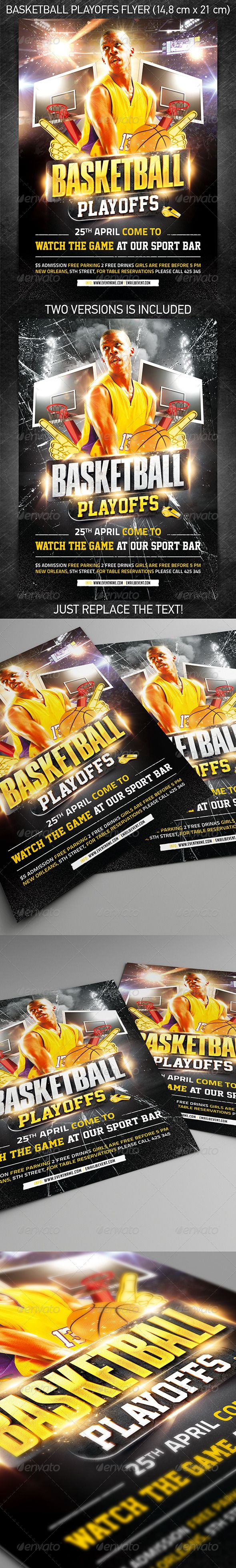 Basketball Playoffs Flyer — Photoshop PSD #ticket #March Madness • Available here → https://graphicriver.net/item/basketball-playoffs-flyer/7384113?ref=pxcr