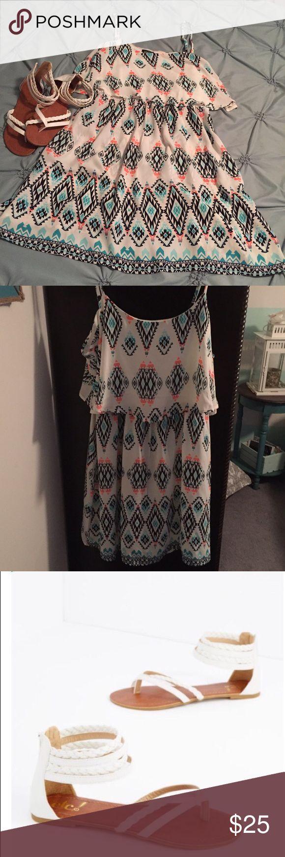 Adorable Dress w/ Sandals Adorable Dress w/ Sandals..Dress Size XL NWT - Sandals Size 7-8 NWOT ! Rue 21 Dresses Mini