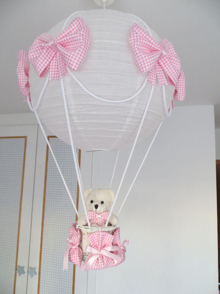 lampara globo rosa con osito