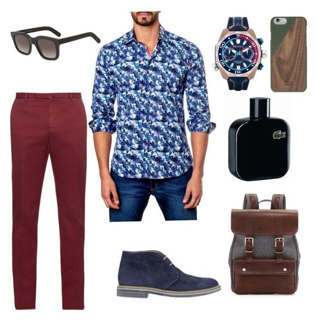 """Men"" by jarasi on Polyvore featuring Jared Lang, Incotex, Brimarts, Brera Orologi, Brunello Cucinelli, Native Union, Monokel, Lacoste, men's fashion y menswear"