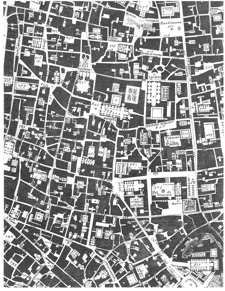 Giambattista Nolli's map of Rome in the 18th century; the public spaces of the city.