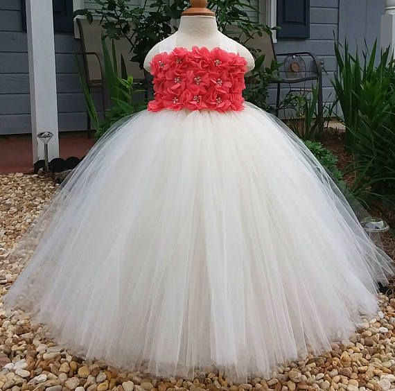 Free Shipping  to USA Custom Made Ivory Coral Tutu Dress for