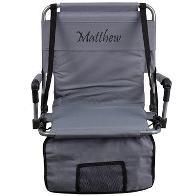 Flash Furniture Folding Stadium Chair Chair Color: Gray, Thread Color: Floral Pink